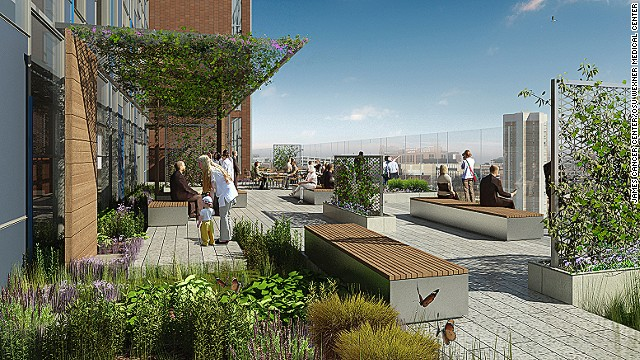 A rendering of a landscaped terrace at Ohio State University's James Cancer Center.