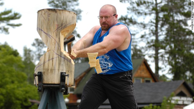 In the standing block chop, the lumberjack must cut through 12 to 14 inches of a vertical log.