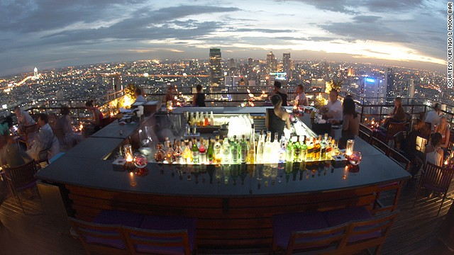 "The high-wire views at the 61st floor Vertigo and Moon Bar, Banyan Tree Bangkok are rivaled only by those at the Sky Bar at Sirocco, another of the city's drinking ""high points."""