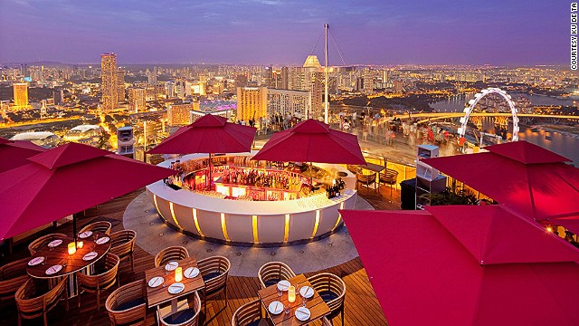 Singapore's Sky Bar at KU DE TA has spectacular views into the city and of Marina Bay Sands' famous infinity pool. Arrive at sunset to reap the full experience.