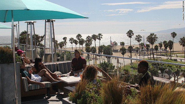 The 360-degree view from the High Rooftop Lounge at Hotel Erwin in Los Angeles commands everything from the storied beachside basketball courts of Venice Beach just below the bar to the storyboard hills of Hollywood behind it.