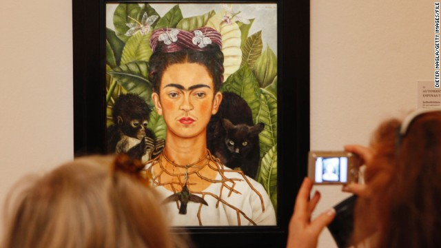 """She pointed out her mustache and joint eyebrows because they show a male aspect to her personality, and Frida always wanted to be both. She wanted to be a complete human being and not only the sweet wife,"" said Prignitz-Poda."