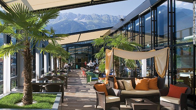 The 5th Floor bar at The Penz Hotel in Innsbruck, Austria, is like a gentleman's club, with leather sofas and smooth jazz, but one with views of the Alps.