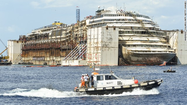Two and a half years after it ran aground on Giglio Island, off the coast of Italy, the Costa Concordia cruise ship is set to be towed north to the port at Genoa to be dismantled.