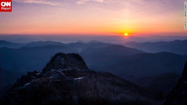 The Sanghwangbong peak of the Gayasan Mountain is one of the highest points in Gayasan National Park in South Korea.