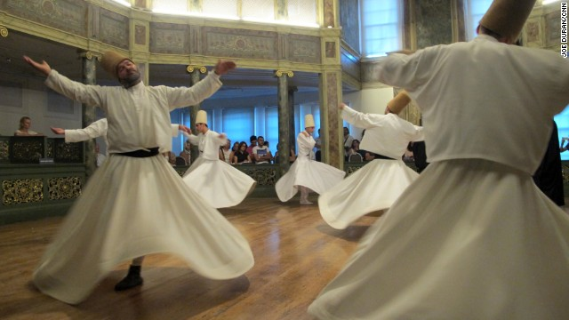 """The Dervishes turn as one arm reaches to the sky """"taking from God"""" and the other """"gives life to the earth,"""" says Celaleddin Loras, a Mevlevi Sheikh, or master of the order."""
