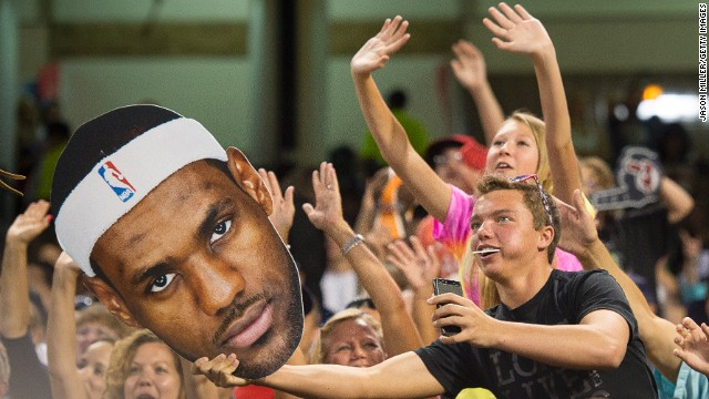 LeBron James's return to the NBA's Cleveland Cavaliers has provoked widespread joy in the town.