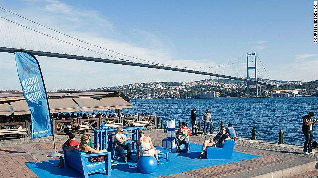 An Urban Living Room along the Bosphorus in Istanbul during the 2012 Istanbul Design Bienale.