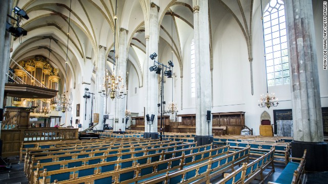 Preparations are made at St. Joris Church in Amersfoort, The Netherlands, for a prayer service for MH17 victims.