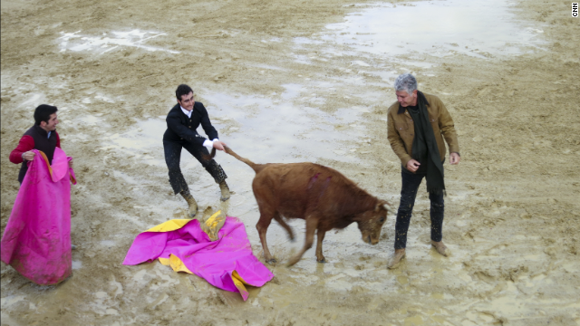 "During the second season of ""Parts Unknown,"" Tony visited the ranch of David Fandila, the star matador known as El Fandi. One of El Fandi's signature moves is to drop to his knees in a dramatic fashion as he waves his cape to goad the bull."
