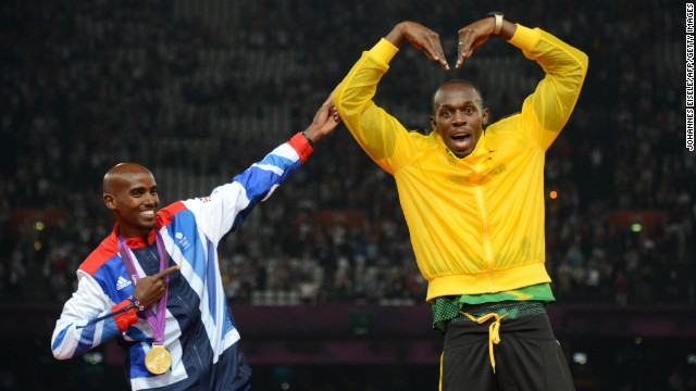 Usain Bolt emulates Mo Farah's 'Mobot' celebration at the London 2012 Olympics. Both compete in Glasgow.