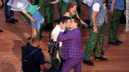 Gay kiss steals show at Games opener
