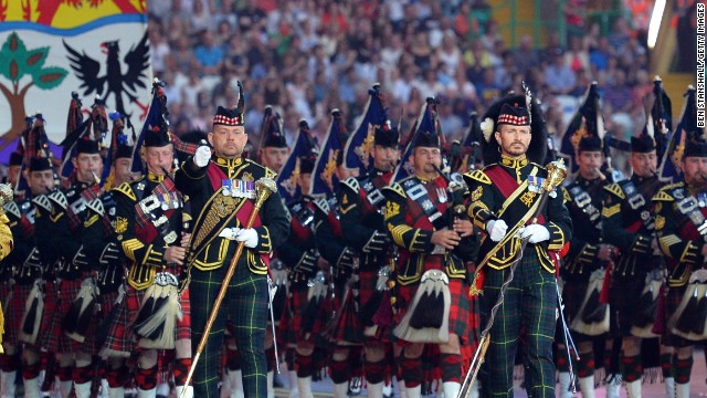 A traditional Scottish pipe band performs during the opening ceremony in Glasgow.