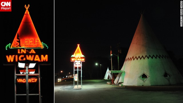"There was no stopping Brian Snider's wife from staying at the <a href='http://ireport.cnn.com/docs/DOC-1152579'>Wigwam Motel</a> in Cave City, Kentucky, where the family slept in teepees. ""She likes all things 'roadside America,'"" he said. Of the original seven locations, only three still exist, including this one."