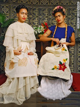 "In this image, Thomas recreates 1939 painting ""The Two Fridas."""