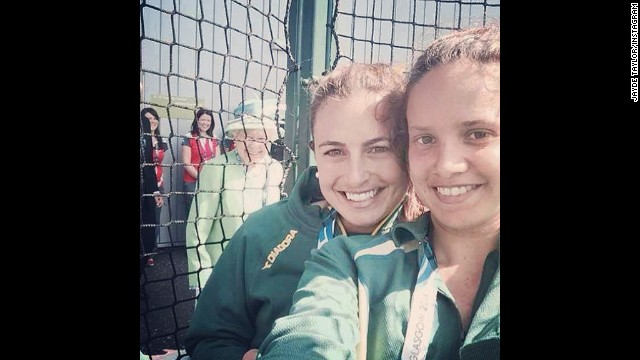 "Queen Elizabeth II is seen in this selfie tweeted on July 24, by Jayde Taylor, an Australian field hockey player. ""Ahhh The Queen photo-bombed our selfie!!"" wrote Taylor, seen here to the left of teammate Brooke Paris. They were in Glasgow, Scotland, to compete at the Commonwealth Games."