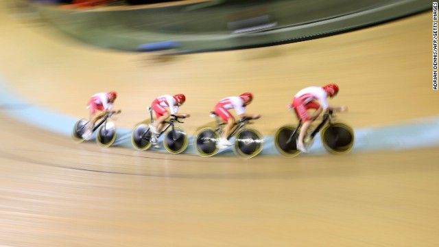 Wiggins and his teammates, pictured, finished behind Australia in the men's 4,000-meter team pursuit final.