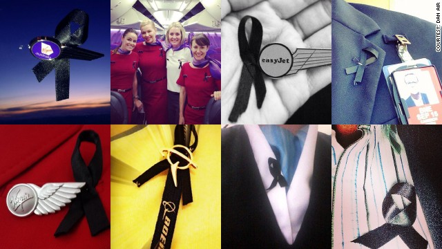 Flight attendants around the world are wearing black ribbons to show their solidarity with colleagues killed in recent air disasters.