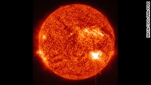 The Solar Dynamics Observatory captured this image of the sun during a flare that peaked at 7:44 a.m. ET on July 5, 2012.