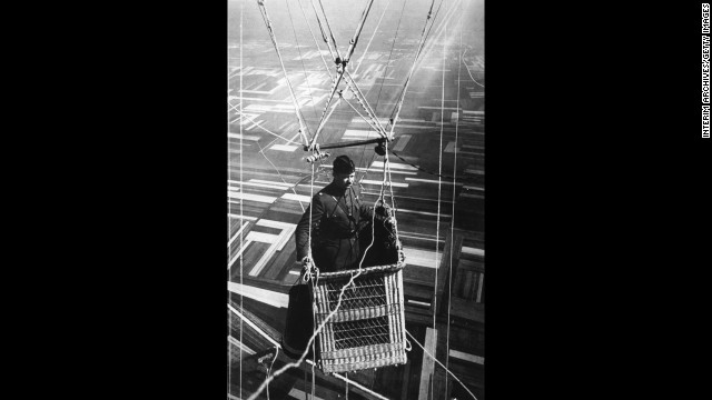 ... or this observation balloon, from which an American Army major commanded a view of the front lines in June 1918 ...