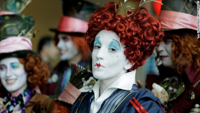 "Lori Ouellette portrays the Red Queen, from the film ""Alice in Wonderland,"" on July 24."