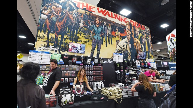 "A merchandising booth for ""The Walking Dead."""