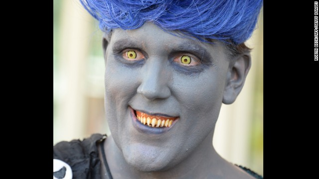 An attendee dressed as the Disney villain Hades on July 24.