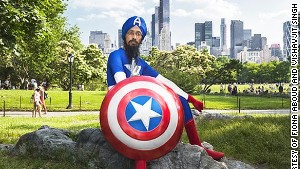 Cartoonist Vishavjit Singh in a Captain America costume.