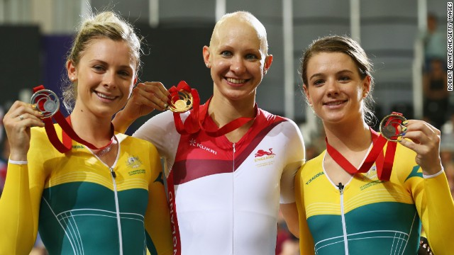 Joanna Rowsell is flanked by Australian duo Annette Edmonson and Amy Cure (right) after the medal presentation for the women's individual pursuit.