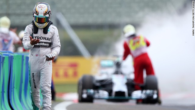 Lewis Hamilton's Mercedes went up in smoke in qualifying at the Hungarian Grand Prix but he was unhurt.