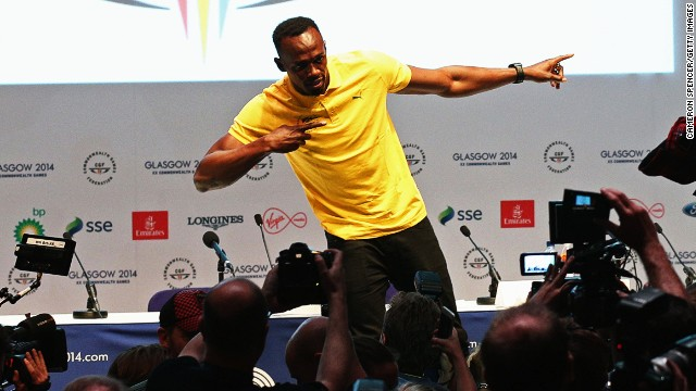 Usain Bolt arrived in Glasgow for the Commonwealth Games on Saturday.
