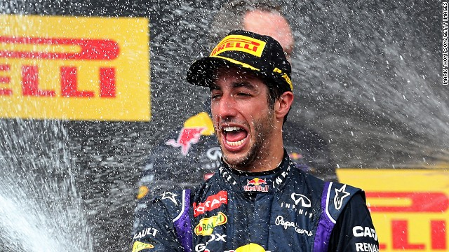 Daniel Ricciardo celebrates his superb victory in the Hungarian Grand Prix for Red Bull.