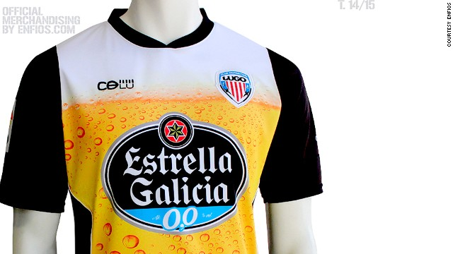 Other Spanish clubs have also designed creative preseason strips in recent times. This Deportivo Lugo kit is based on a pint of beer, a specialty of the Galicia region where the club is based and reflecting its sponsor.
