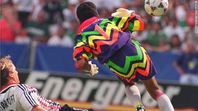 Former Mexico goalkeeper Jorge Campos used to design his own uniforms. This particularly bright number worn at the 1994 World Cup was said to be inspired by his country's Aztec history.