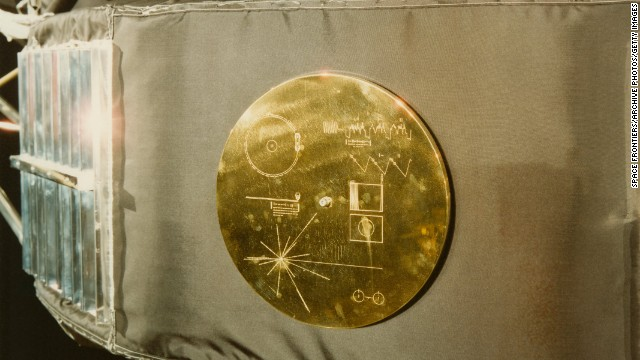 "A gold record in its cover was attached to the Voyager 1 space probe prior to launch. The record, entitled ""The Sounds Of Earth"" contains a selection of recordings of life and culture on Earth. The cover also contains instructions for any extraterrestrial being wishing to play the record."