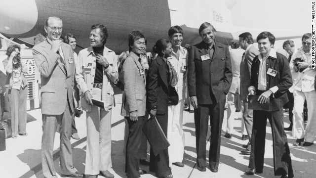 "The Star Trek cast help unveil the space shuttle orbiter OV-101 -- also known as ""Enterprise"" -- at the NASA/Rockwell International Space Division assembly plant at Palmdale, California, in 1976."