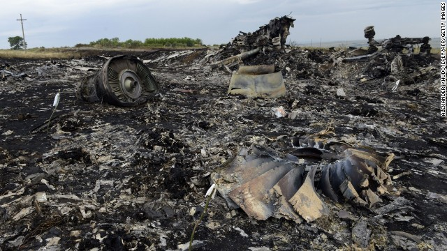 Debris lies at the site of the crash of a Malaysia Airlines plane carrying 298 people in eastern Ukraine.