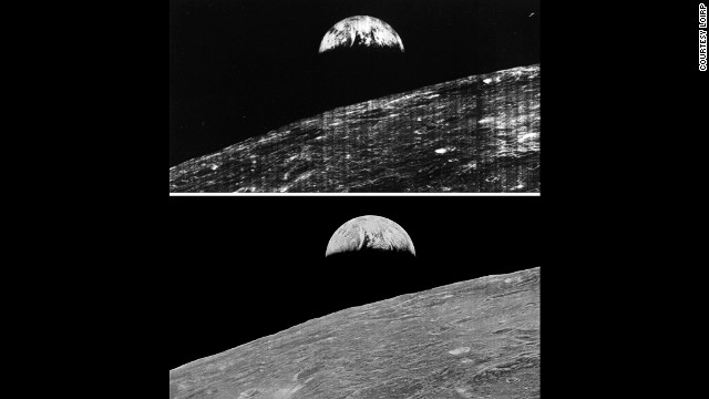 Comparison of the original Earthrise image as seen by the public in 1966 and the restored image released in 2008.