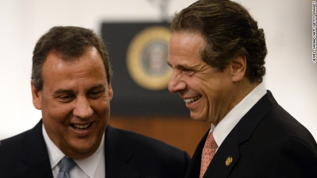 N.J. Gov. Chris Christie, left, and N.Y. Gov. Andrew Cuomo attend the dedication of the September 11th Memorial Museum.