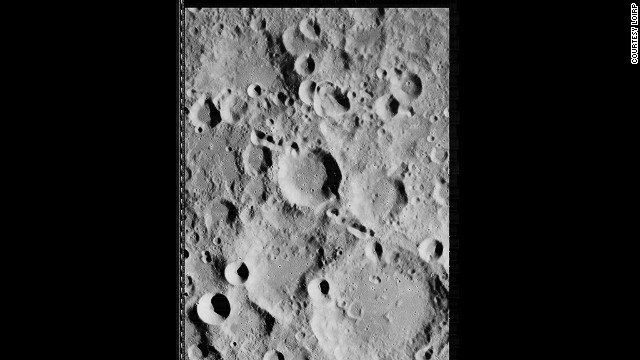 Straight shot of the lunar surface taken by Lunar Orbiter 2 on 19 November 1966.