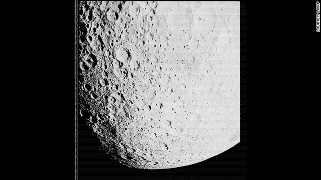 The moon's far side, taken by Lunar Orbiter 2 on 19 November 1966.