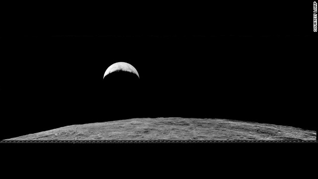 This second earthrise image was taken on August 25, 1966. Most of what is visible on the Moon's surface is the far side, with the Sea of Tsiolkovsky prominently featured.