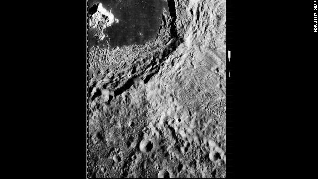 A closeup of Tsiolkovskiy impact crater.