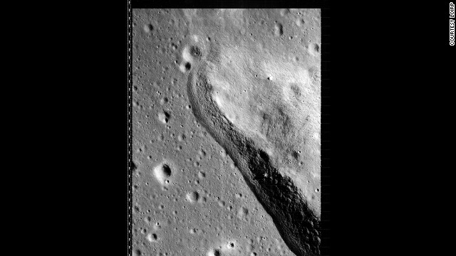 Detail of a lunar geographical feature as seen by Lunar Orbiter 3 on 22 February 1967.