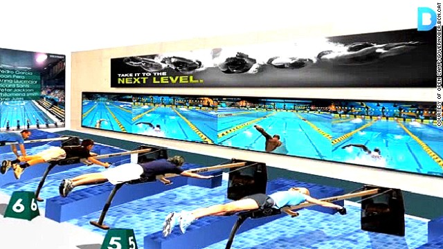Details of a new sports-based theme park in Barcelona are sketchy, but promotional images show visitors taking part in virtual swimming races.