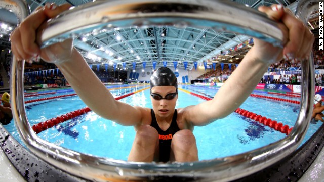 GLASGOW, SCOTLAND - JULY 28: Courtney Butcher of Guernsey prepares to compete in the Women's 50m backstroke during day five of the Glasgow 2014 Commonwealth Games. <a href='http://edition.cnn.com/2014/07/23/sport/commonwealth-games-glasgow-queen-bolt/'>Athletes representing the 71 nations and territories of the Commonwealth</a> compete in the event.