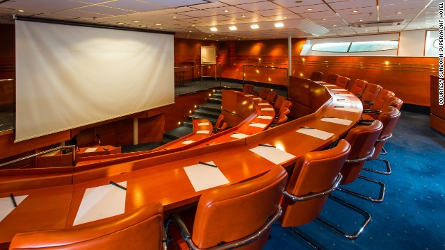 Located beside London's Exhibition and Convention Center (ExCel), the floating hotel hopes to attract business guests, and features a plush auditorium.