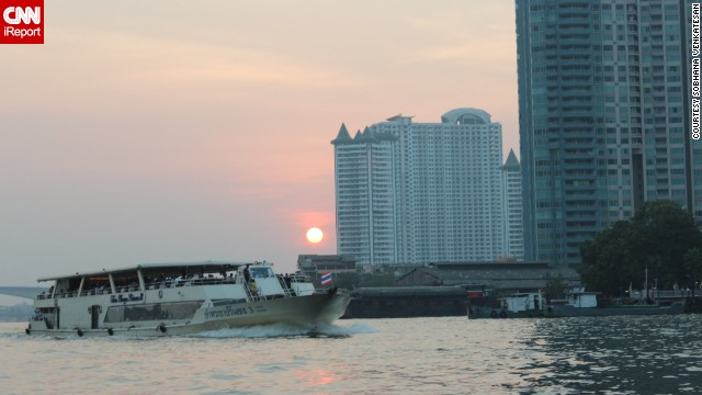 The Chao Phraya is a major river that flows through Bangkok, Thailand. <a href='http://ireport.cnn.com/docs/DOC-1151269'>Sobhana Venkatesan</a>, who visited Thailand in January, was impressed with the river's many transportation options.