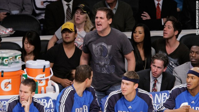 Mark Cuban roots for his team, the Dallas Mavericks, as they play the Los Angeles Lakers on October 30, 2009, in Los Angeles.