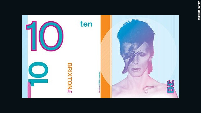 David Bowie, who lived in Brixton from 1947 to 1953, was one of the local heroes featured in the second edition of Brixton Pounds that were unveiled in September 2011.